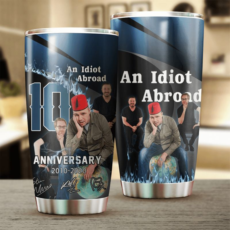 An Idiot Abroad 10 Anniversary Characters Signatures 20oz Stainless Steel Tumbler