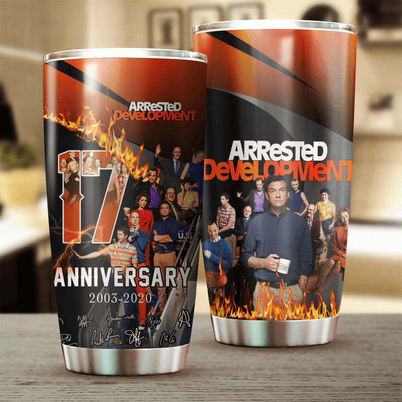 Arrested Development 17 Anniversary Characters Signatures 20oz Stainless Steel Tumbler