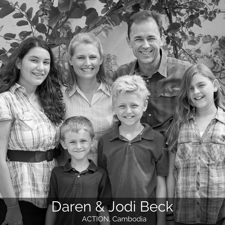 Daren and Jodi currently serve with ACTION in Phnom Penh, Cambodia. Previously Daren served for six years on staff as Missions Pastor at West Hill Community Church in Morgan Hill, California. They arrived in 2003 to serve long term in Cambodia.  They are blessed by four children, Mikaela (born 1997), Kamryn (2000), CJ (2002), and Andrew Joel (2005).  They are are very excited about the privilege of serving the Khmer people in the name of Christ!