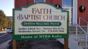 Faith Baptist Church of Beaver Springs Sign