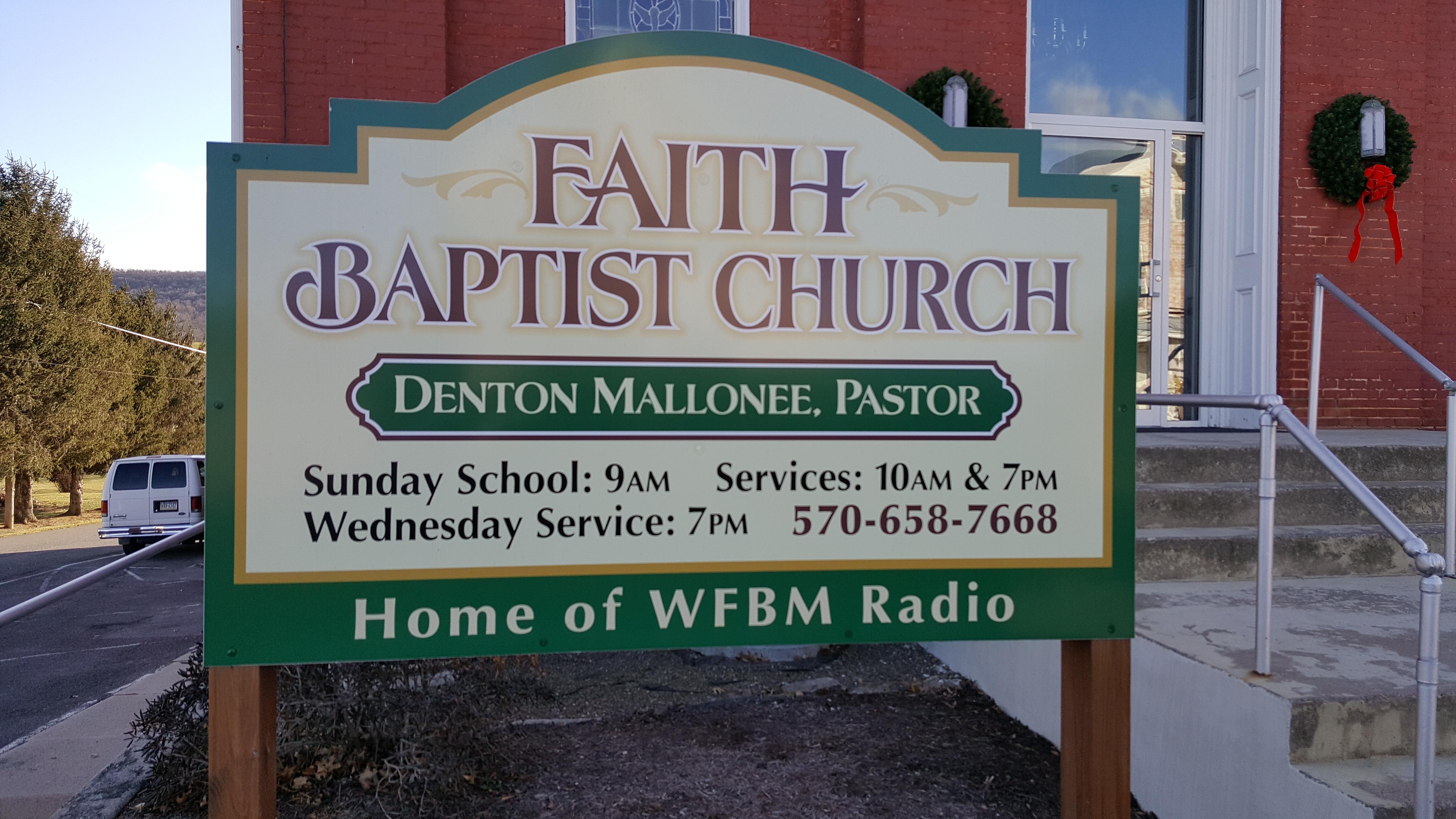 Faith Baptist Church of Beaver Springs Sign