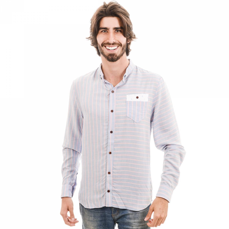 Camisa Manga Longa Listrada Sobrebolso