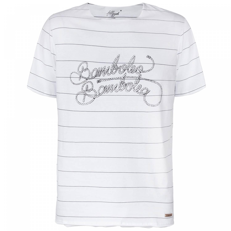 Camiseta Branca Algodão Listrada Bamboleo