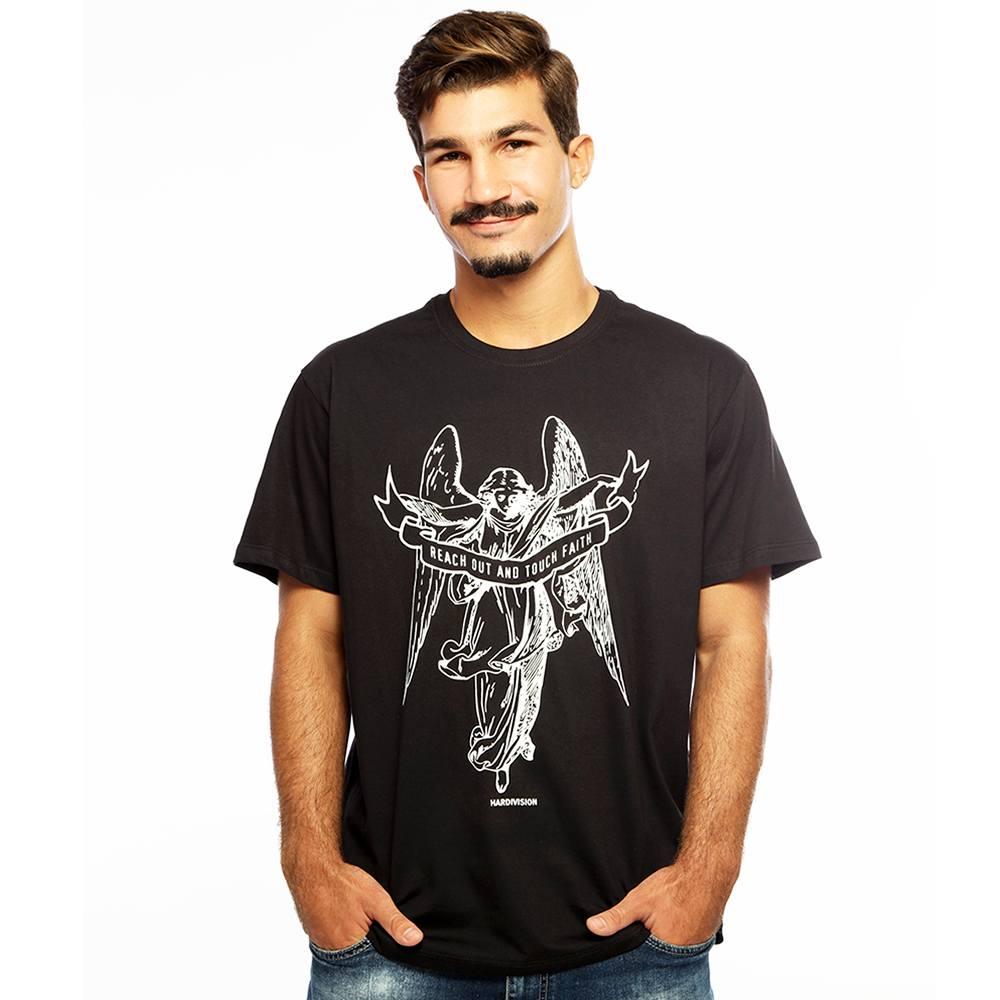 Camiseta Masculina Estampada Anjo Preto Hardivision