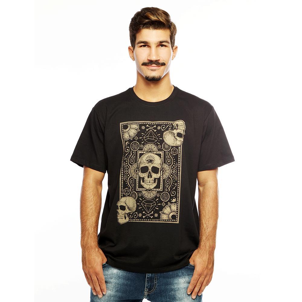 Camiseta Masculina Estampada Cards of Skull Preto Hardivision