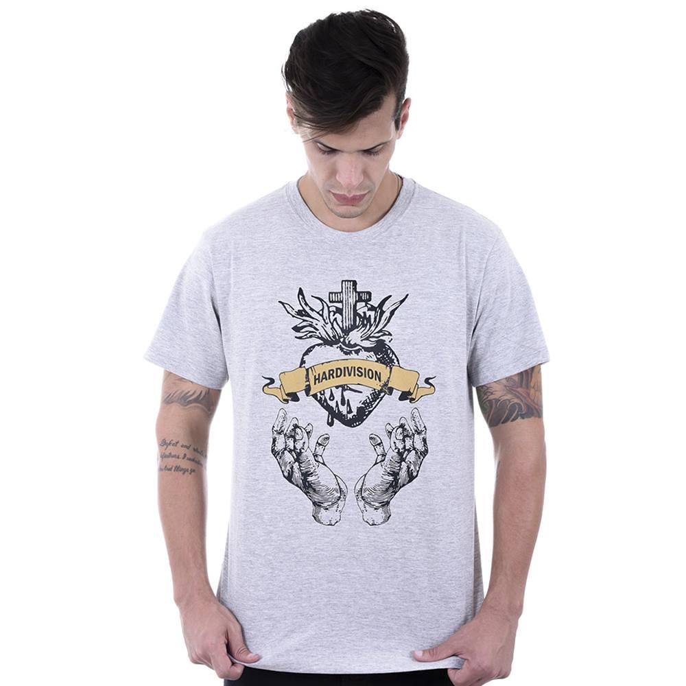Camiseta  Masculina Estampada Coração Sagrado Cinza Mescla Hardivision
