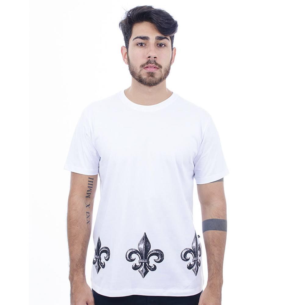 Camiseta Masculina Estampada Flor De Lis Branco Hardivision