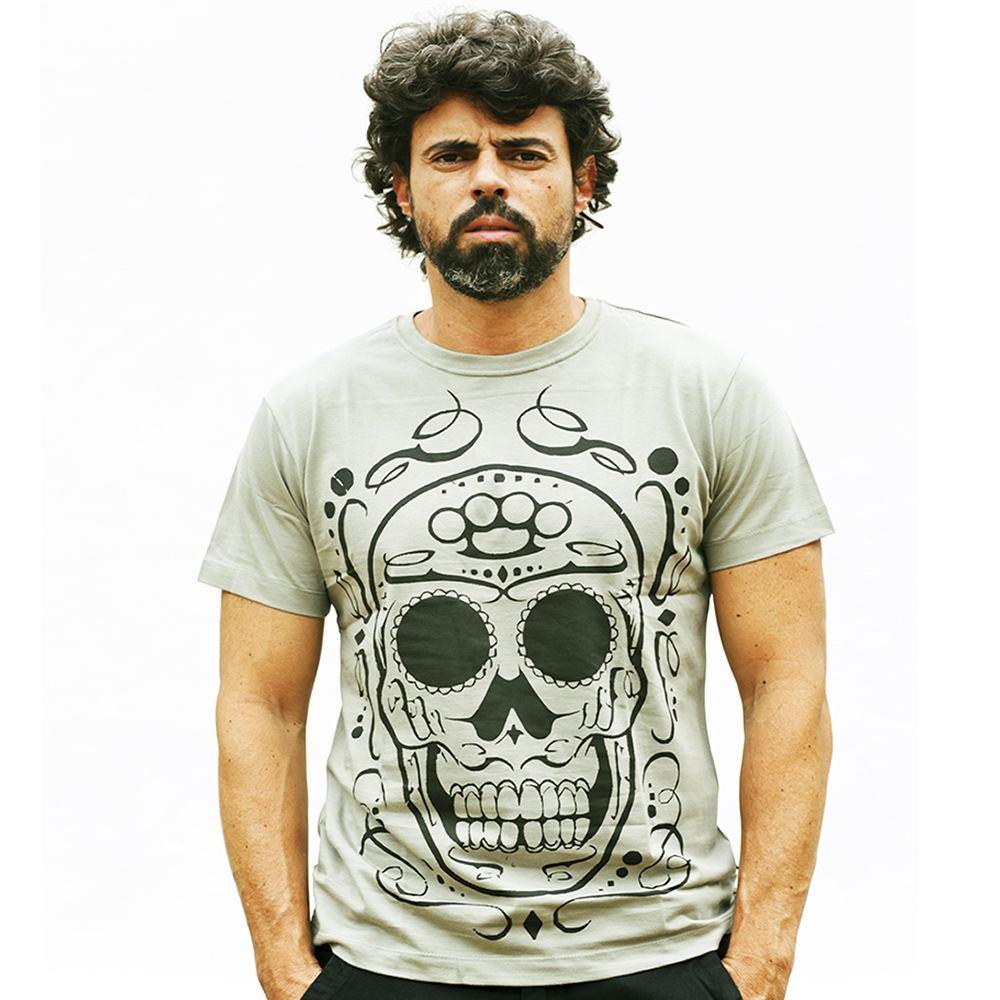 Camiseta Masculina Estampada Hardivision Hard Skull Verde