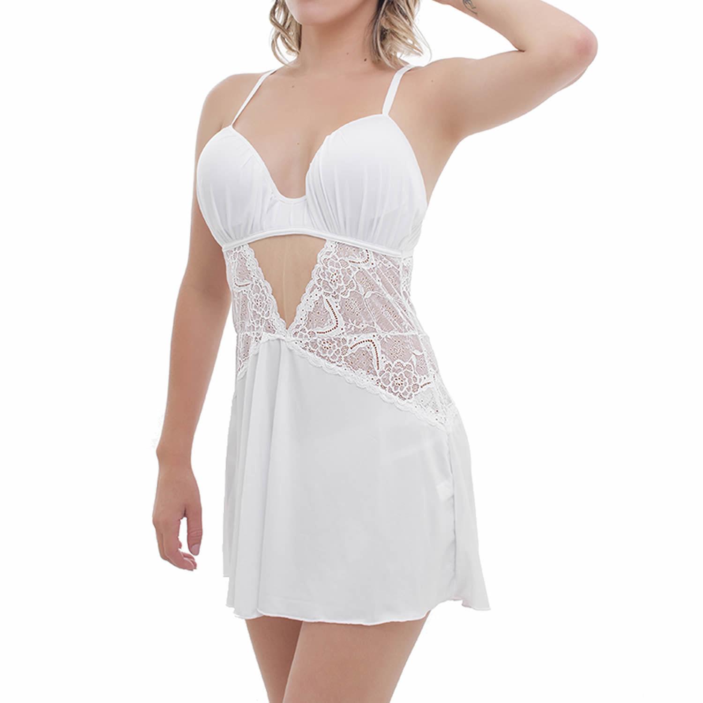 Camisola Sensual Liganete e Renda Branco