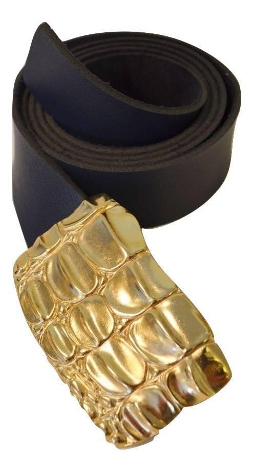 Cinto feminino fivela cobra dourada