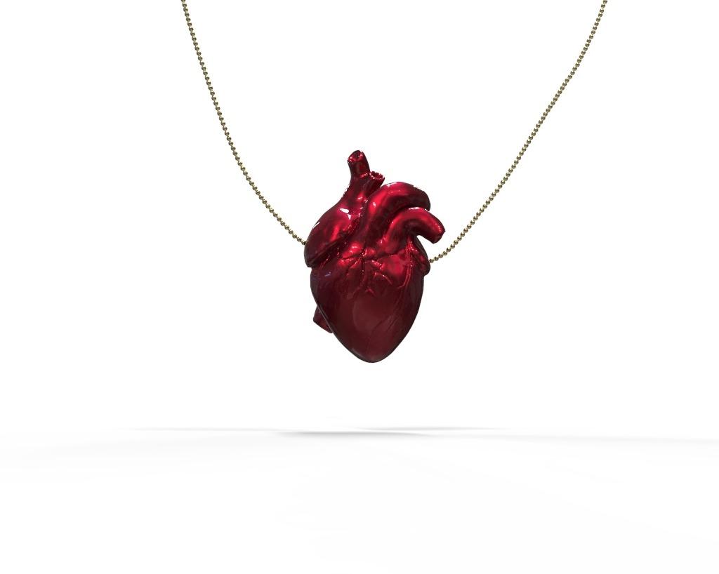 Colar Coração Anatômico - Vermelho Candy