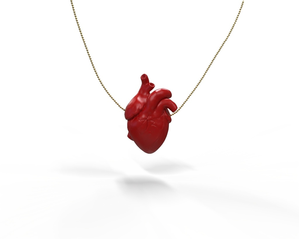 Colar de Coração Anatômico - Vermelho fosco