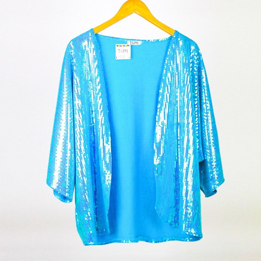 Kimono Paetê Sereia Azul