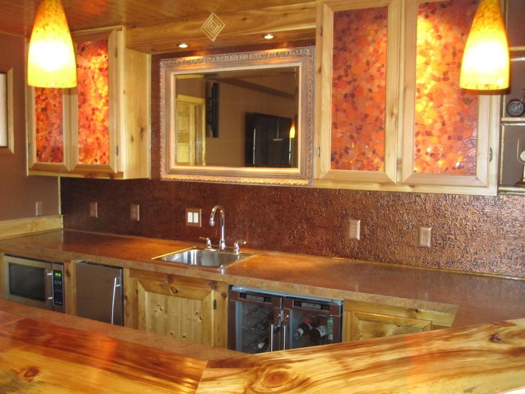 Copper Ceiling Tile Backsplash