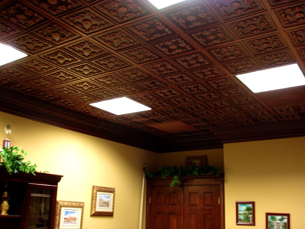 Metal Look Drop Ceiling Tiles