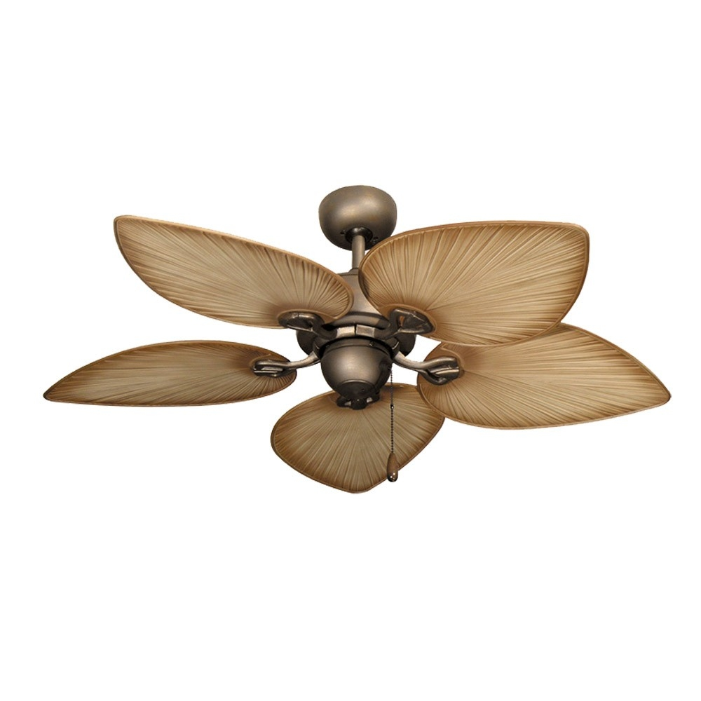 White Palm Leaf Ceiling Fan With Light