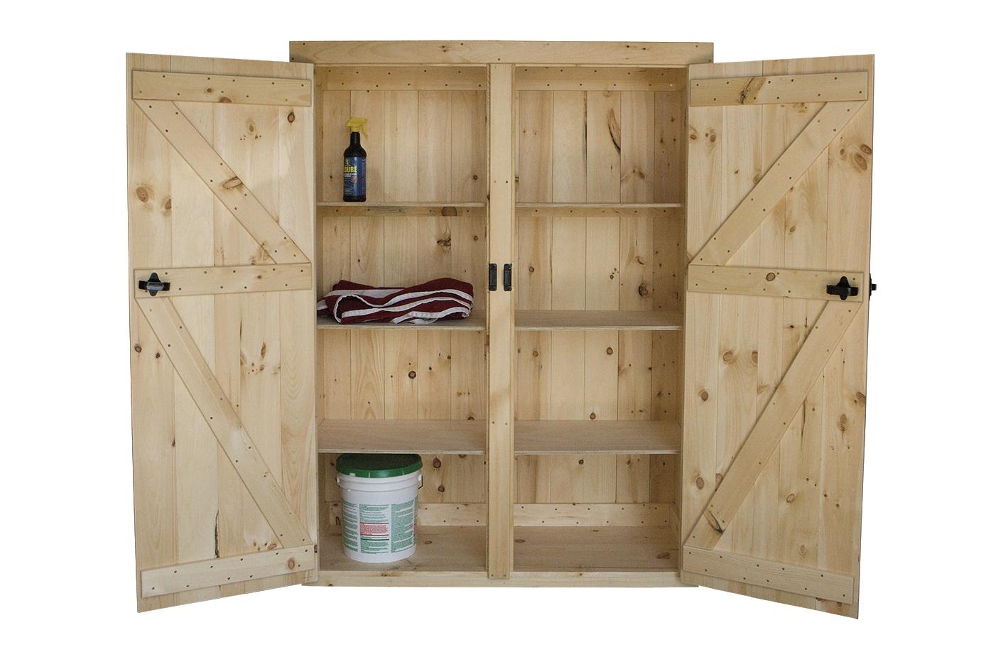 Wooden Storage Cabinet With Doors And Shelves