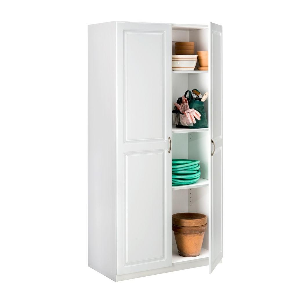 Home Storage Cabinets With Doorsclosetmaid 36 in laminated 2 door raised panel storage cabinet in