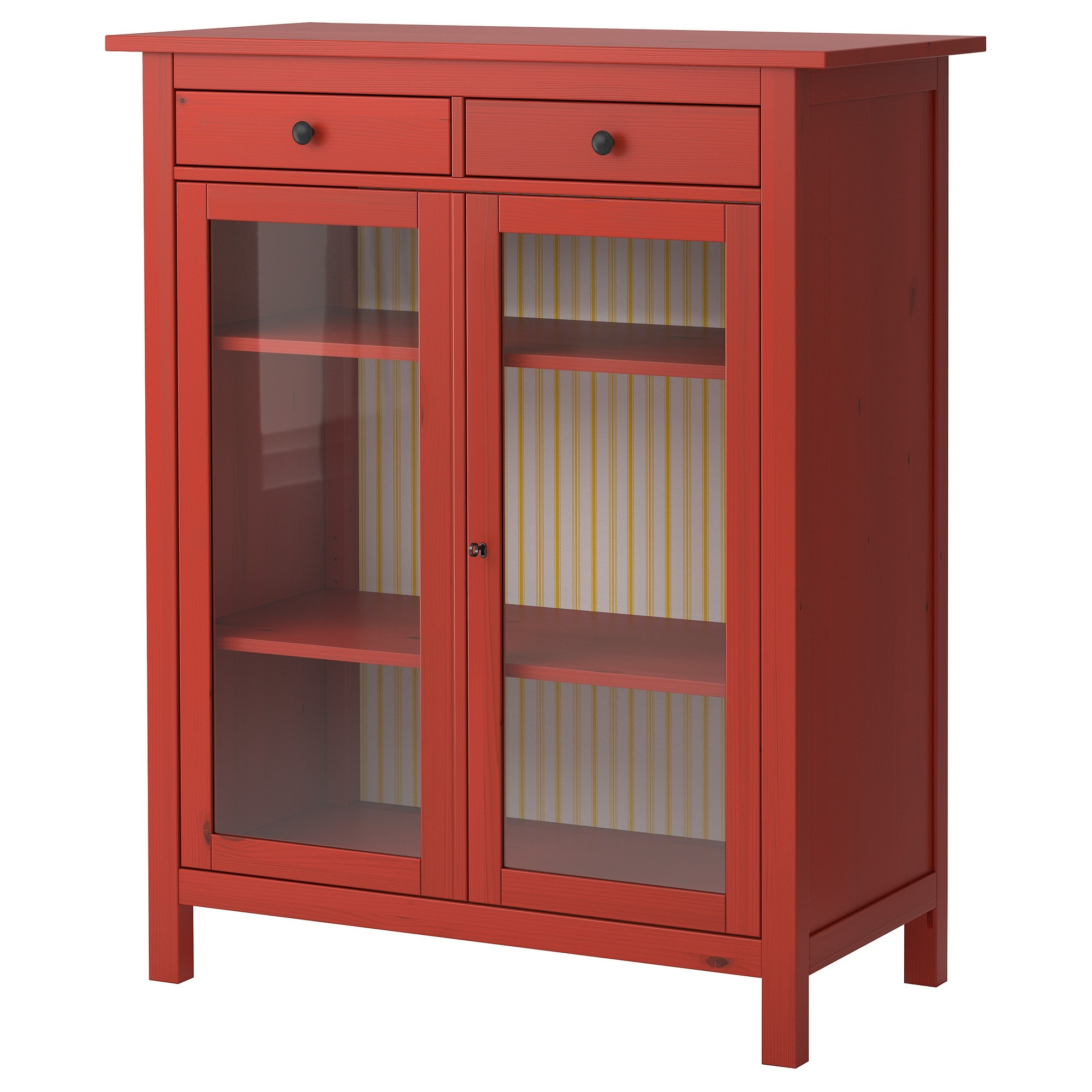 Red Storage Cabinet With Glass Doors