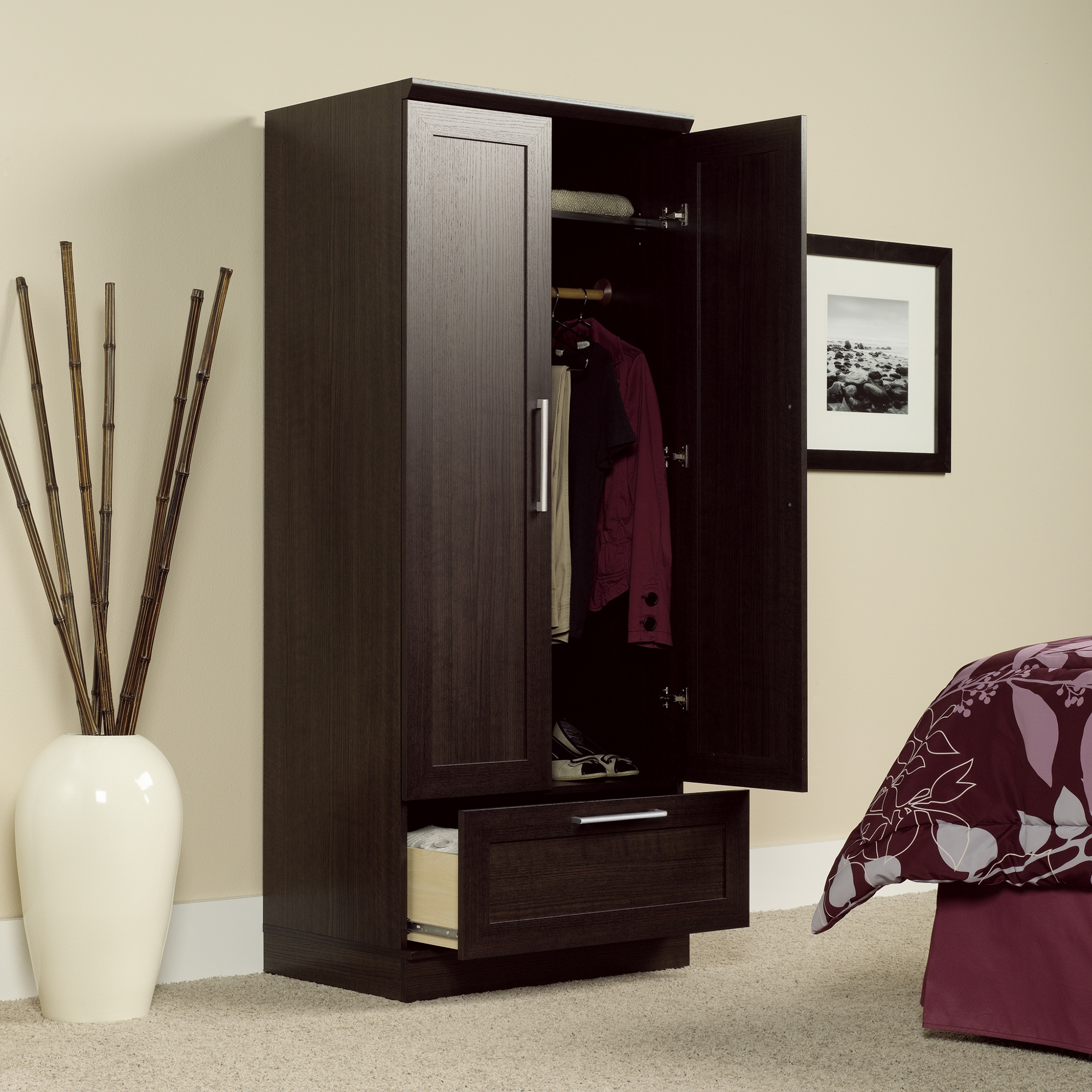Sauder Beginnings Wardrobe And Storage Cabinet With Adjustable Shelves
