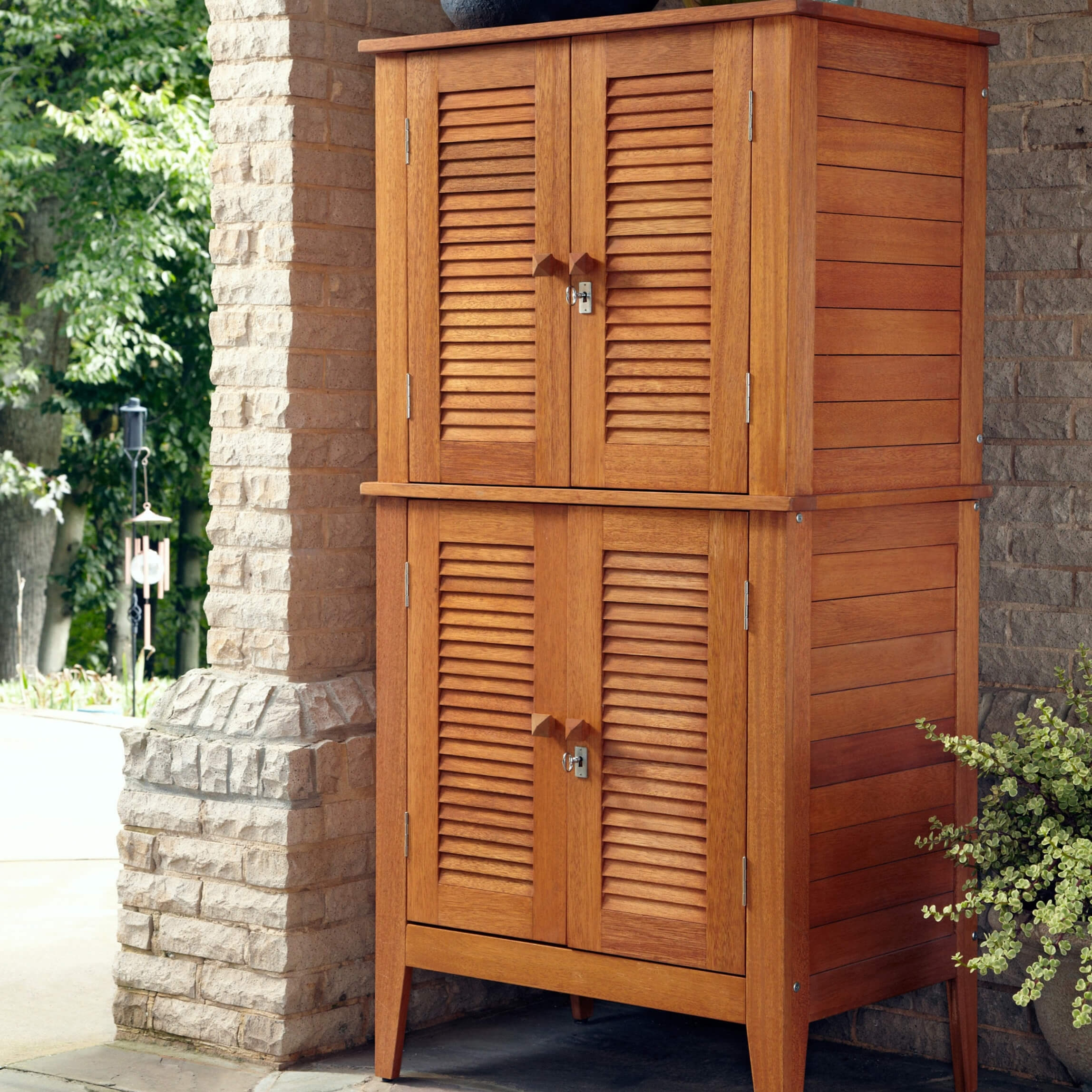 Upright Wood Storage Cabinet