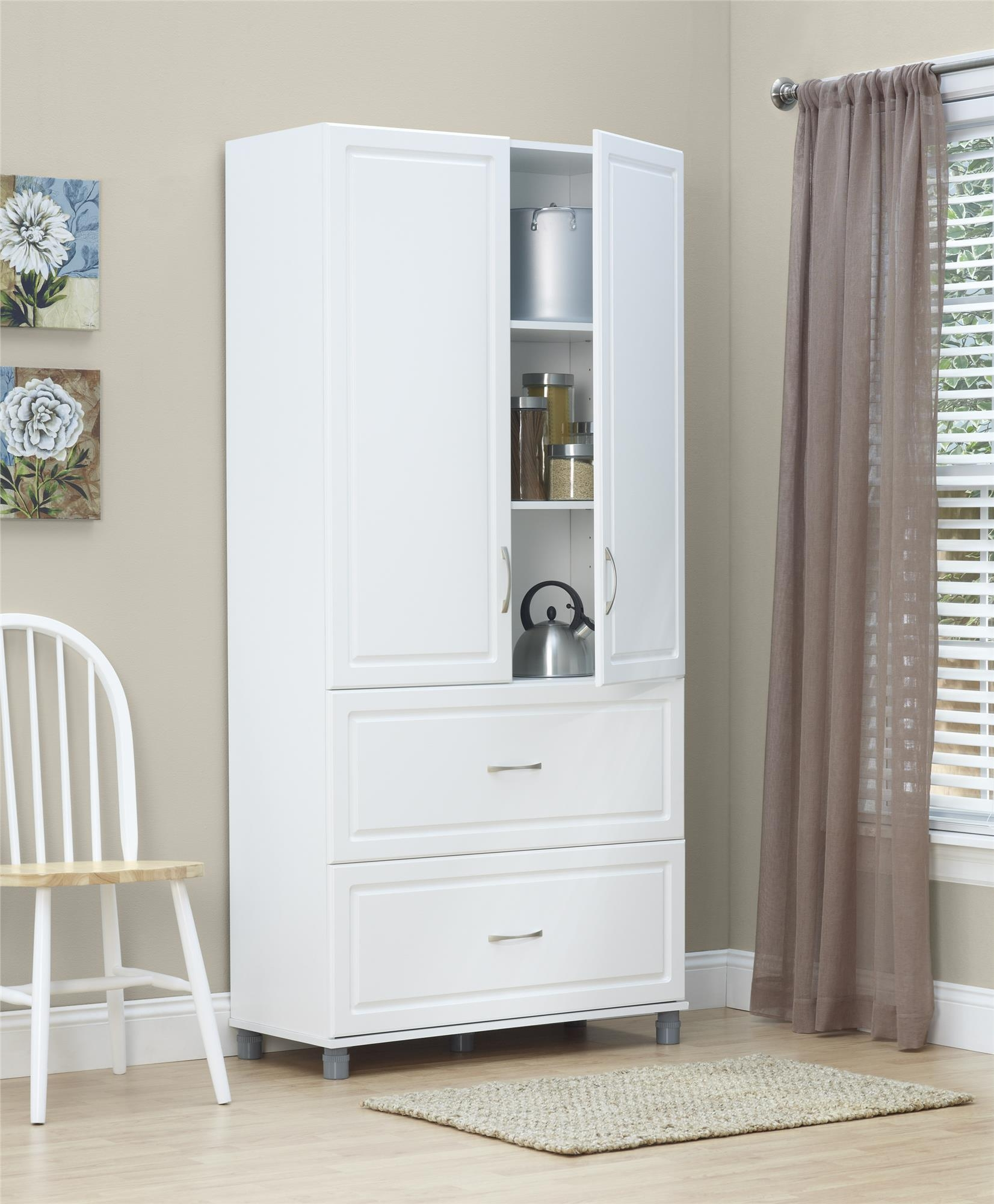 White Storage Cabinet With Doors And Drawers