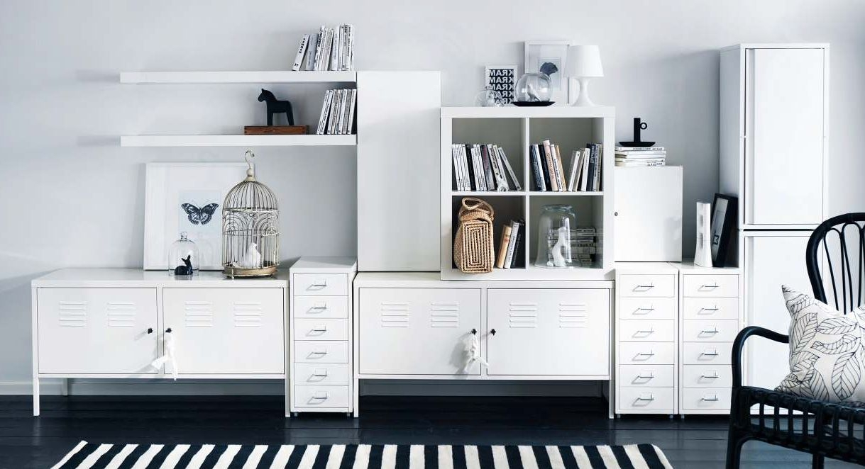 White Storage Cabinets For Living Room