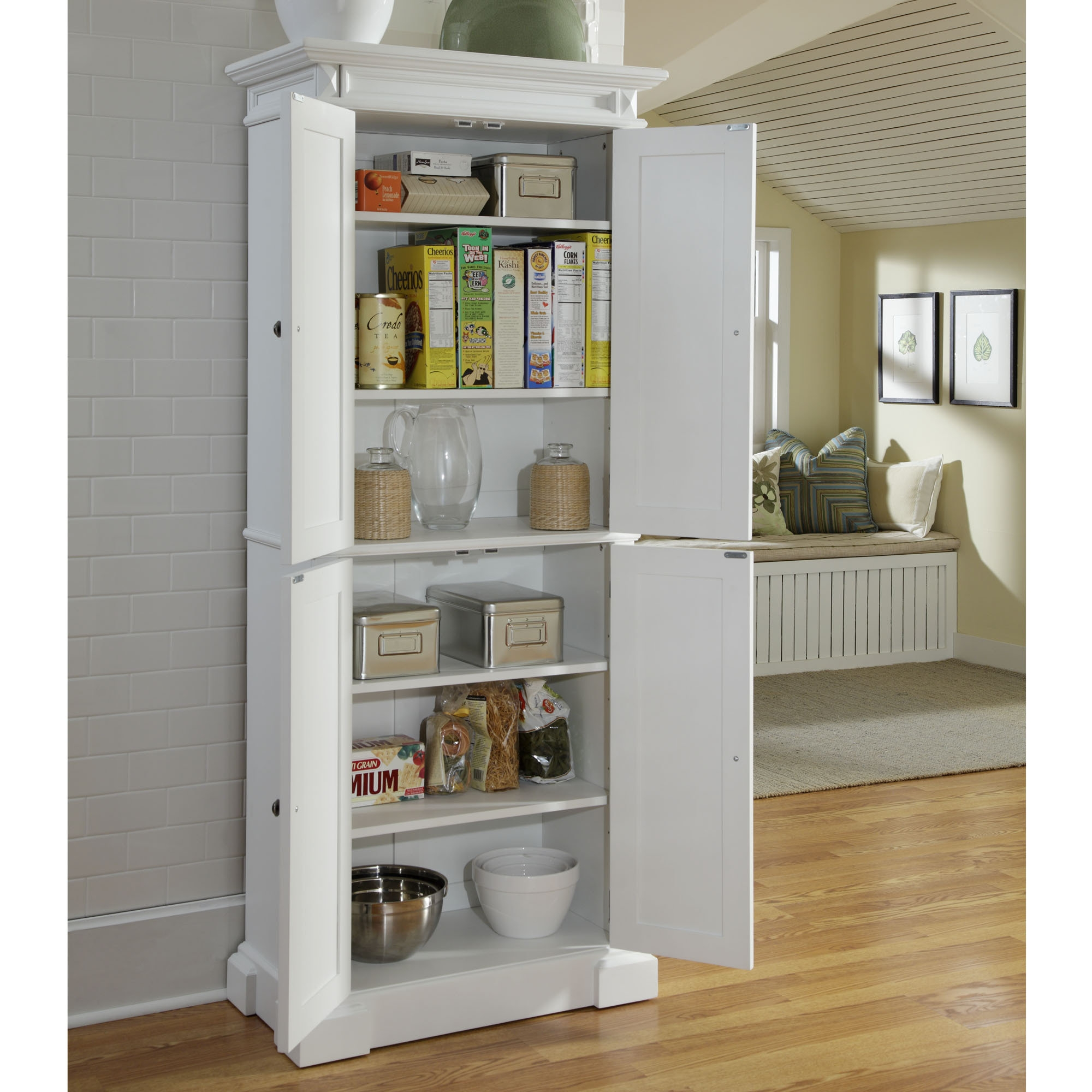 White Wall Storage Pantry Cabinet