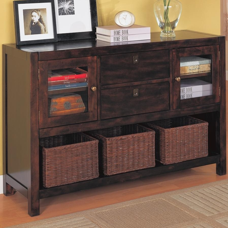 Wood Storage Cabinets With Wicker Baskets