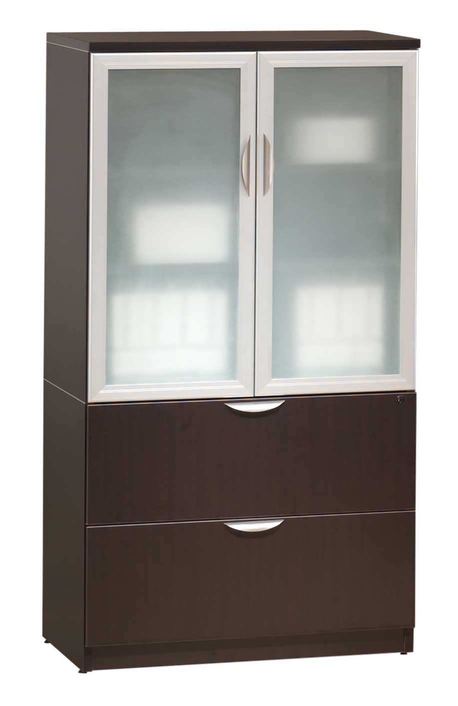 Wooden Storage Cabinet With Glass Doors