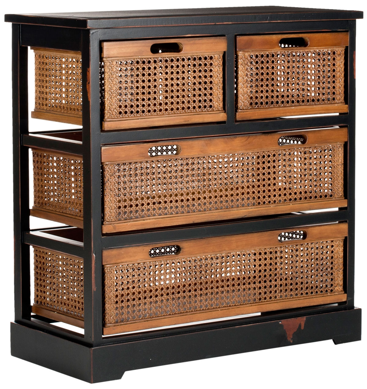 Black Wooden Storage Cabinet With Wicker Baskets