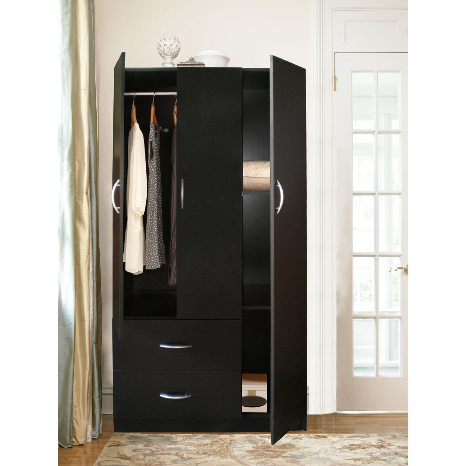 3 Door Wardrobe Storage Cabinet With 2 Drawers