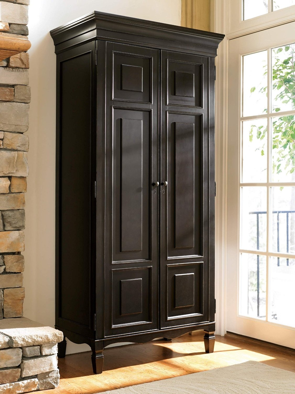 Permalink to Black Wooden Storage Cabinet With Doors
