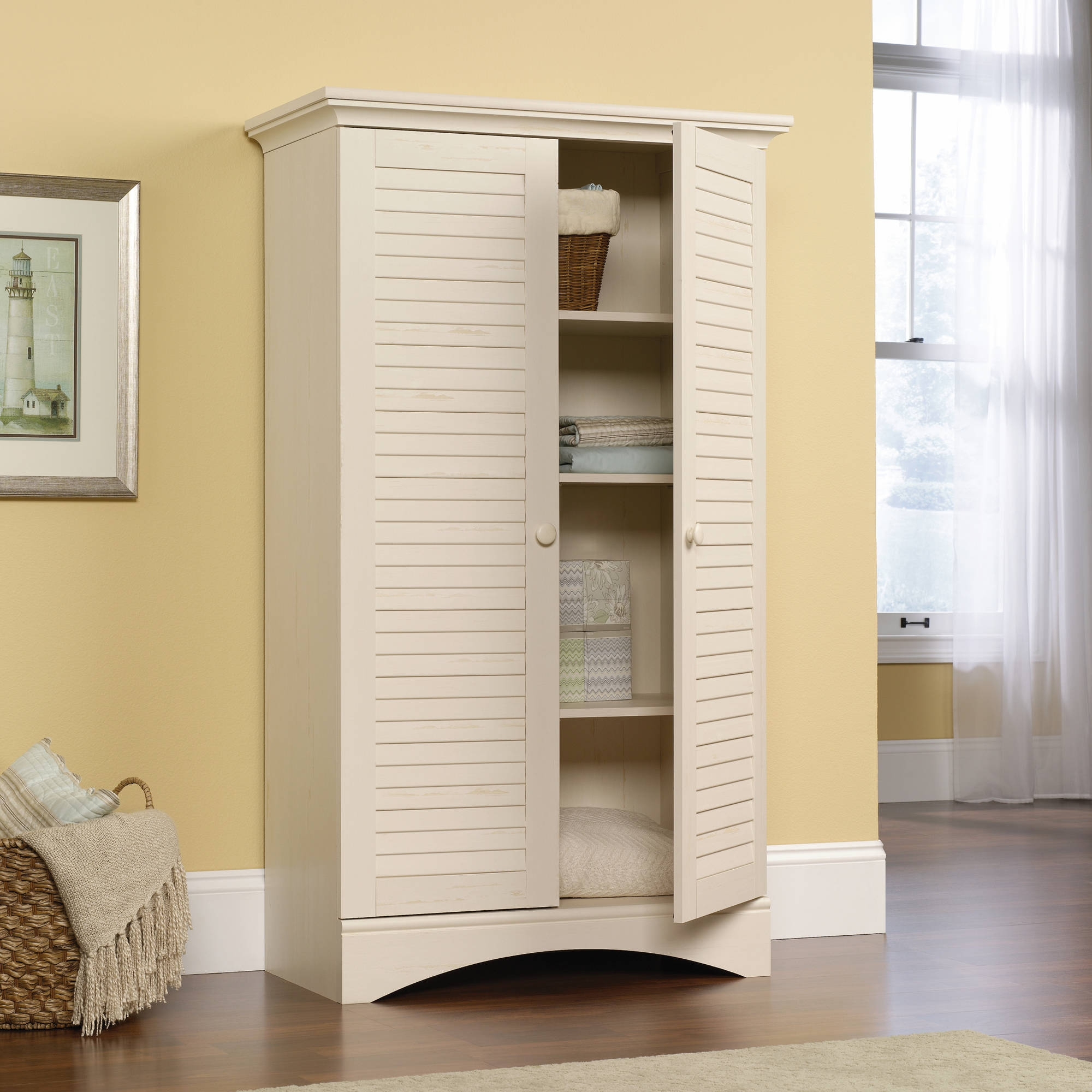 Sauder Harbor View Storage Cabinet Antiqued White Armoire