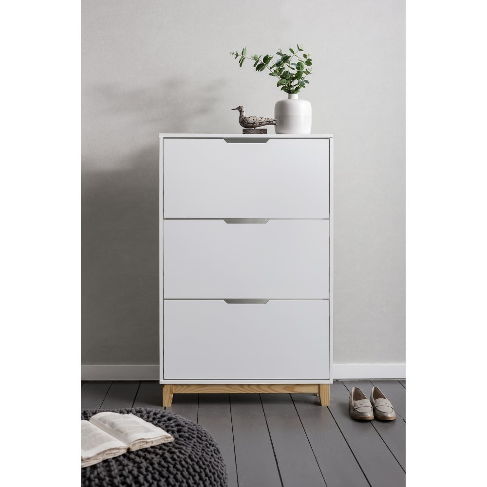 Shoe Storage Cabinet With Drawer White
