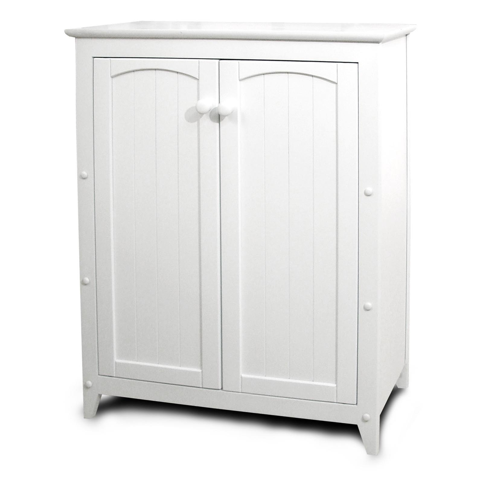 Short White Storage Cabinet With Doors