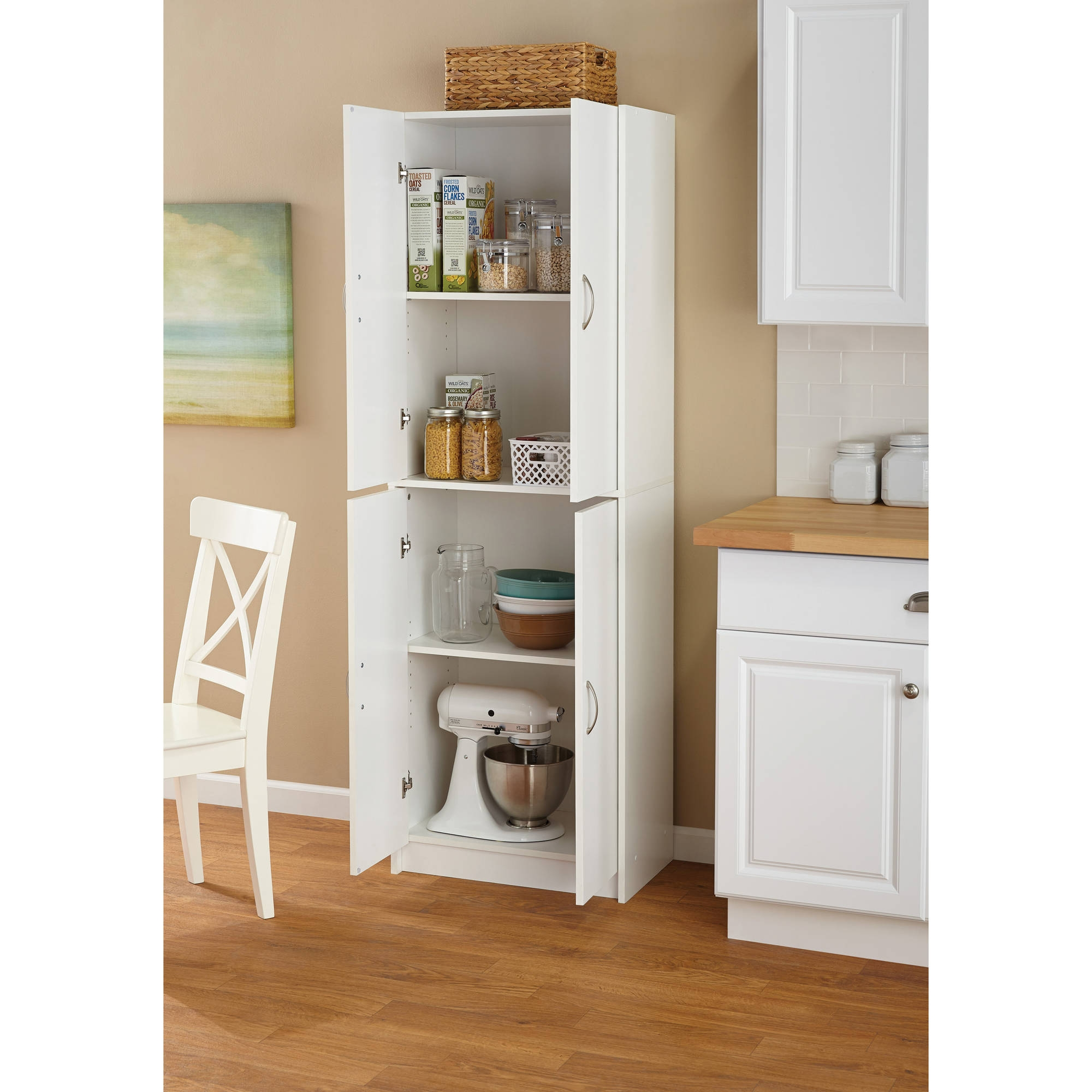 White 4 Shelf Storage Cabinet