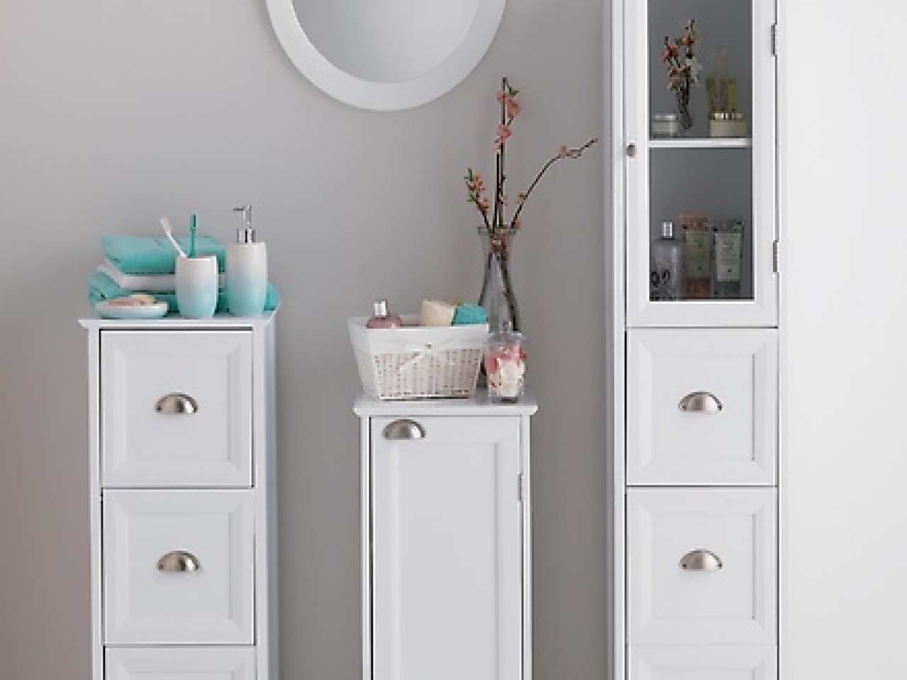 White Bathroom Storage Cabinet With Drawers
