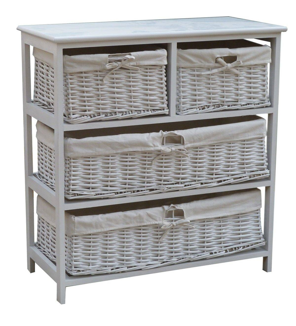 Permalink to Wood Storage Cabinet With Wicker Baskets