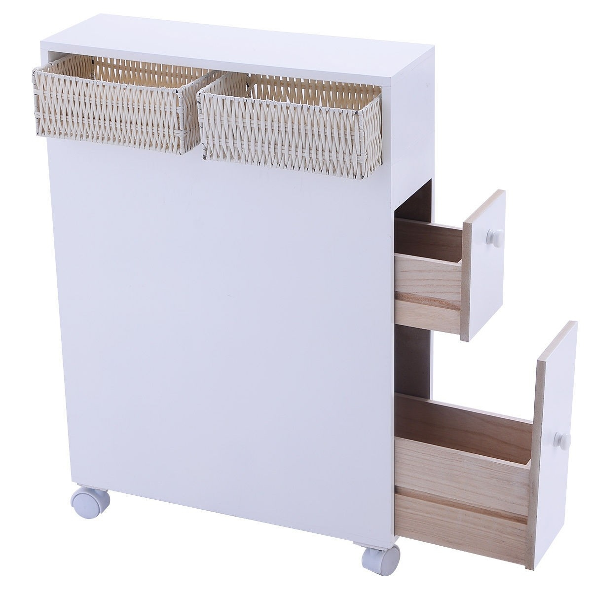 Wooden Tray Storage Cabinet With Caster