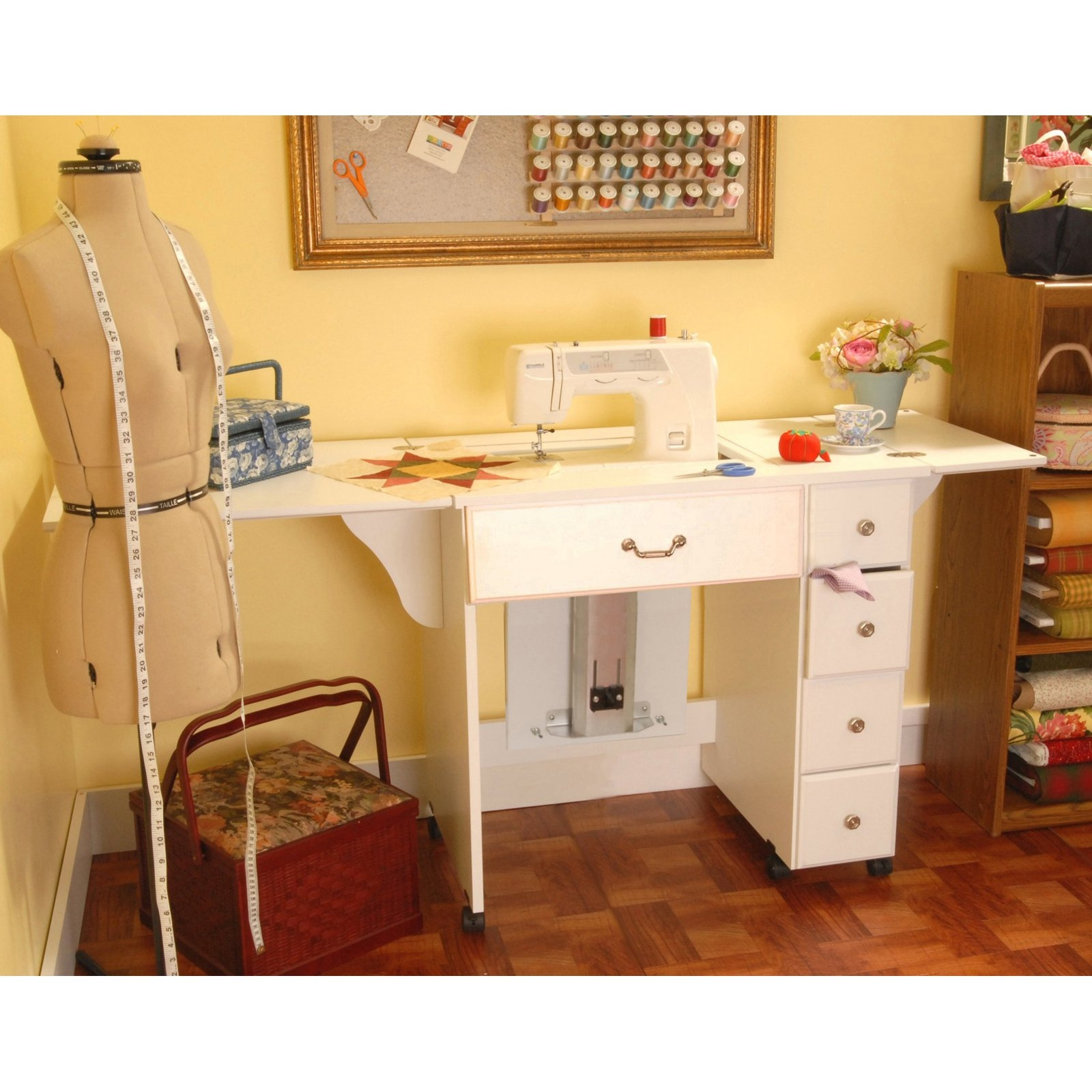 Arrow Bertha White Sewing Machine Storage Cabinet With Airlift