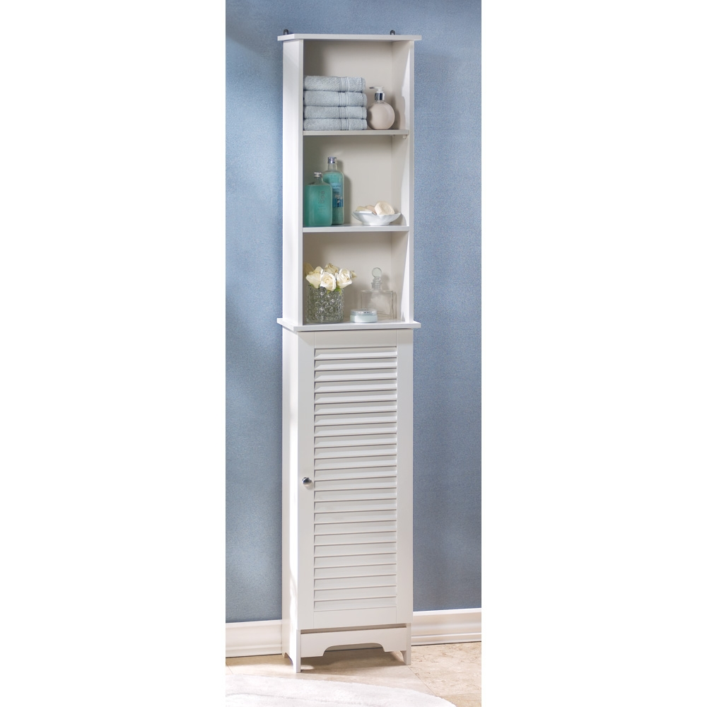 Home Locomotion Tall White Storage Cabinet