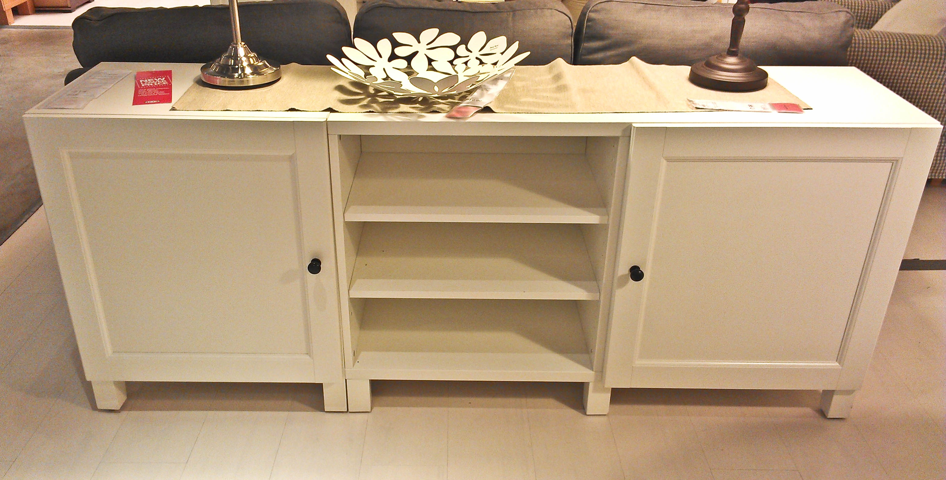 Long Storage Cabinets With Doorsfurniture long white wooden storage with triple shelves on the