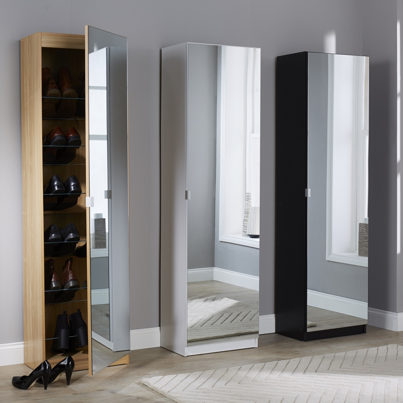 Tall Mirrored Storage Cabinet