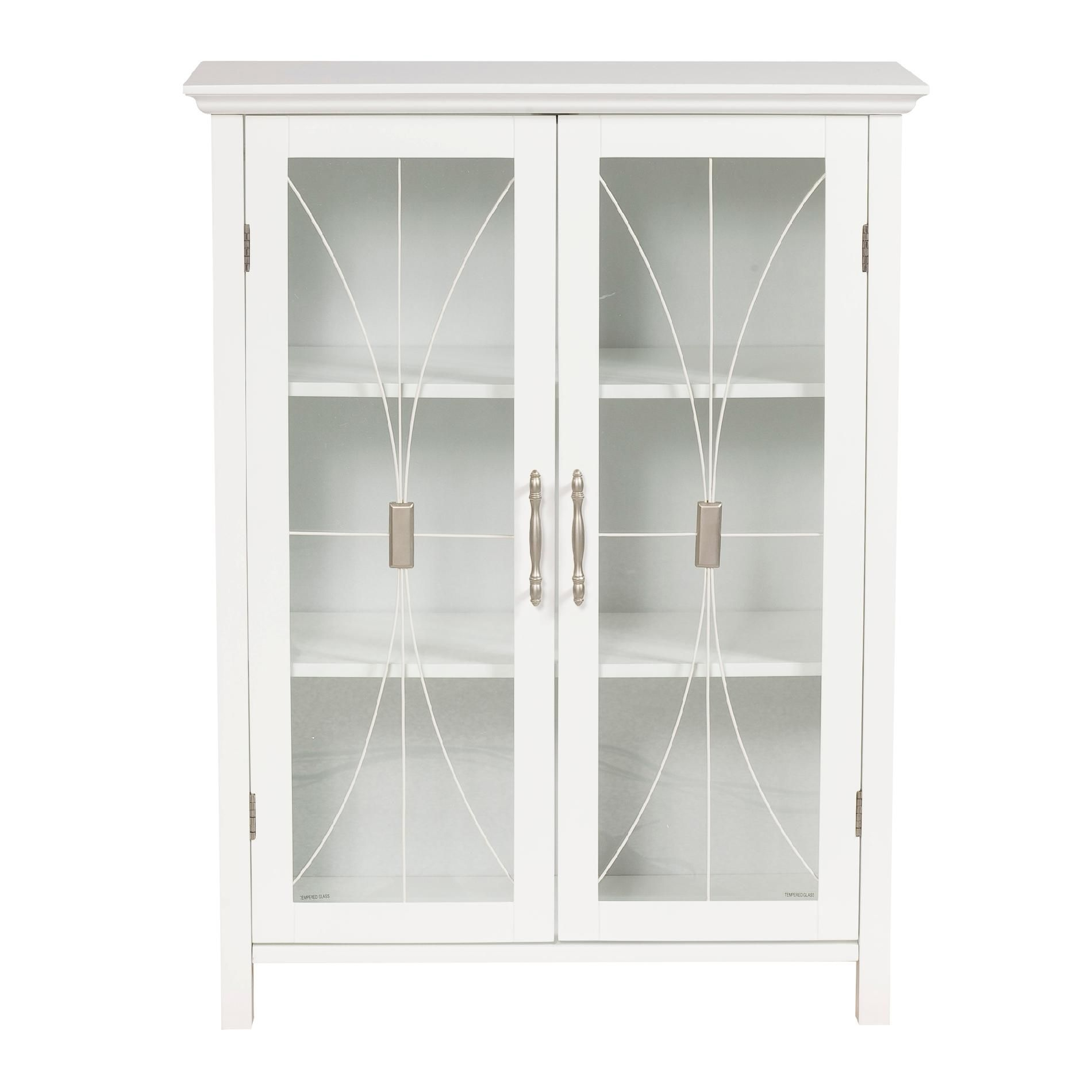 White Storage Cabinets With Glass Doors