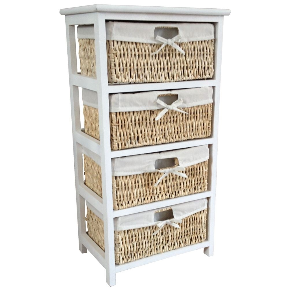 Wood Storage Cabinet With Maize Baskets