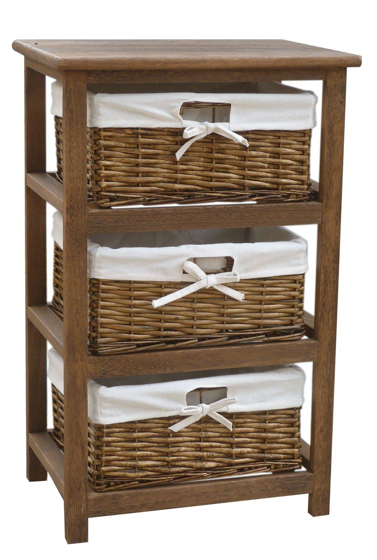 Wooden Storage Cabinet With Basketsbentley home wooden storage cabinets with 3 wicker basket