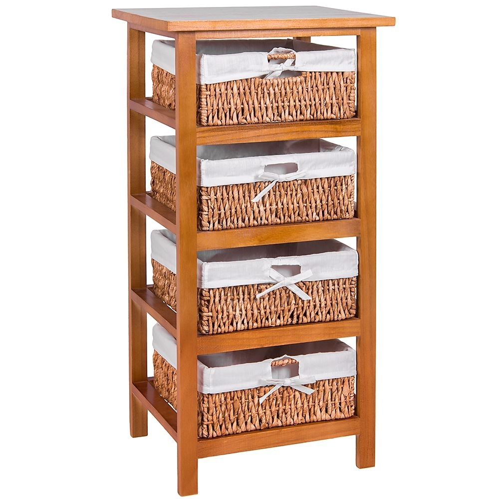 3 Drawer White Wood Storage Cabinet With Maize Baskets