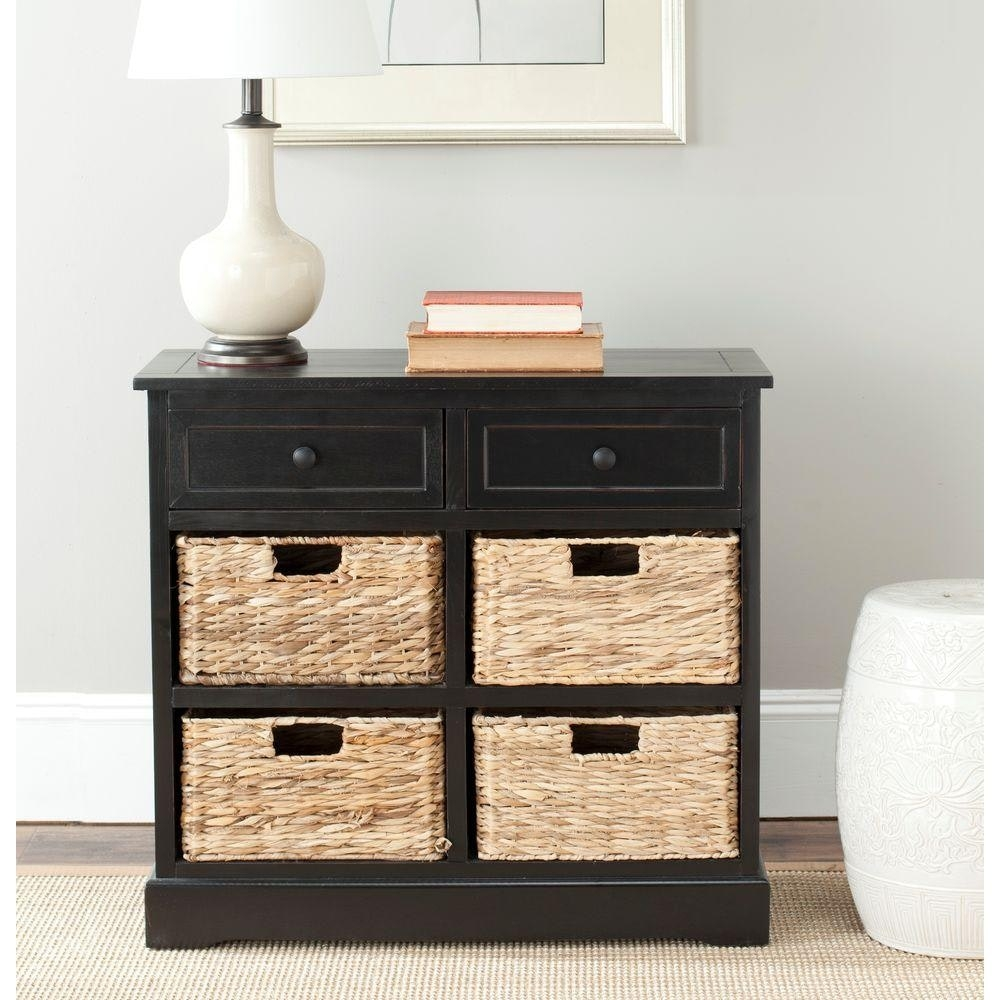 Black Storage Cabinet With Wicker Baskets