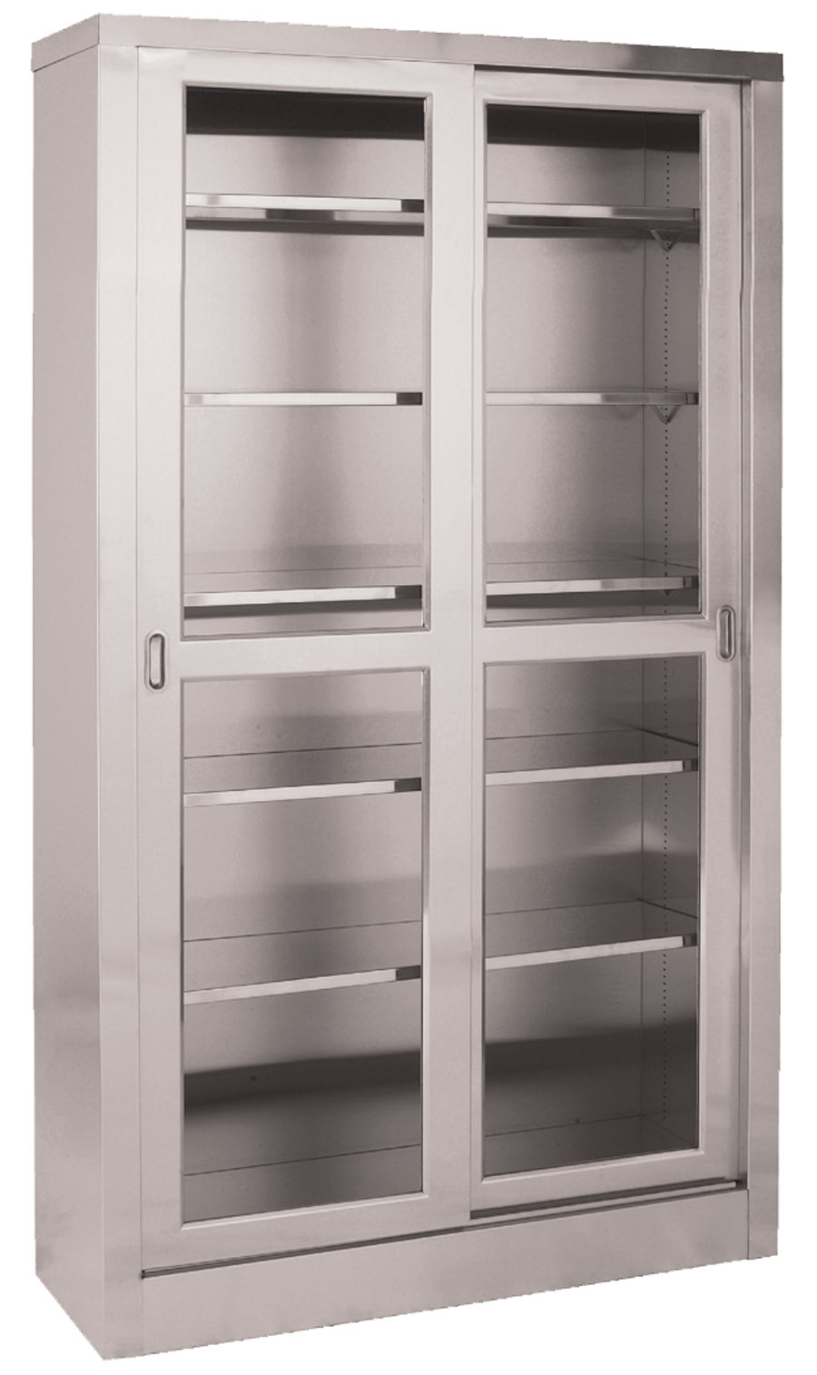 Stainless Steel Storage Cabinet With Glass Doors